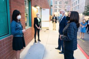 Co-founders talking with Biden and Harris
